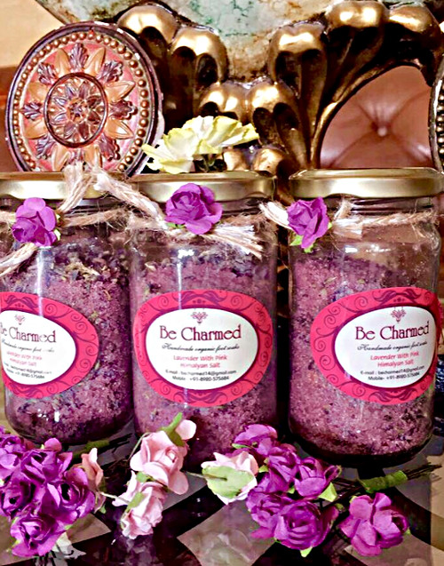 Lavender Buds with pink Himalayan salts, Black salts